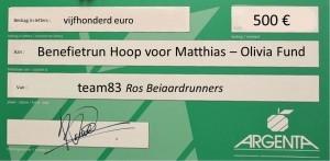 cheque Hoop voor Matthias